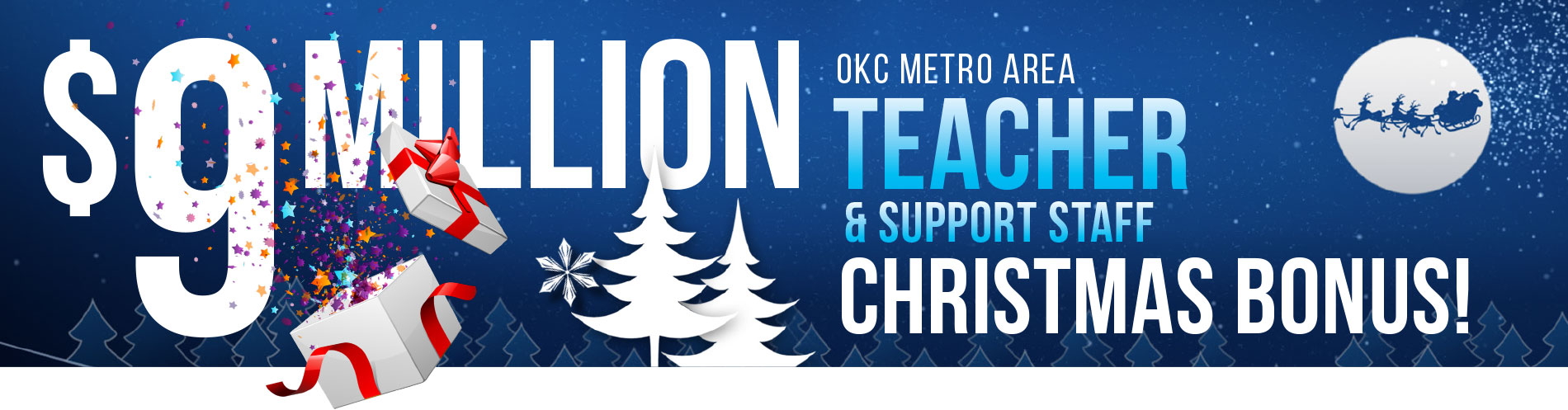 $9 million OKC Metro teacher & support staff Christmas Bonus